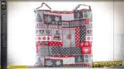 Coussin de chaise en coton 40X40X4 600 gr coloris gris thème Noël