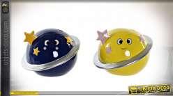 Tirelire décorative pour chambre d'enfant thème espace et planètes, ambiance lunaire, 14cm