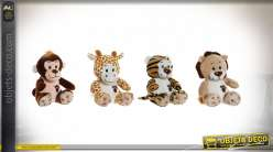 PELUCHE POLYESTER 13X12X14 ANIMAUX 6 MOD.