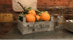 Caisse en bois de marché effet ancien, anses de transport et inscription Produits du terroir, 26cm