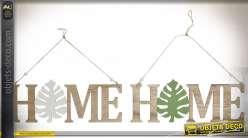 Série de deux petites décorations murales en bois à suspendre, bois découpé finition naturelle, forme de feuilles blanche et verte, 30cm