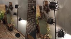 Lampadaire de style industriel avec 3 projecteurs, coloris noir charbon, 1,60 mètre