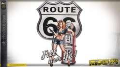 Décoration métal murale vintage US Route 66 et pinup 65 cm