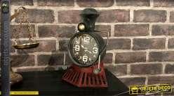 Horloge murale ou à poser en métal en forme de locomotive à vapeur 26,5 cm