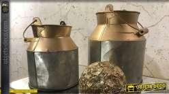 Ancien pot à lait décoratif finition argentée et cuivrée 19,5 cm