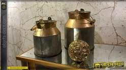 Ancien pot à lait décoratif finition argentée et cuivrée 16 cm