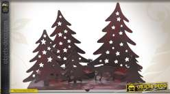 Scène de Noël en métal support pour 3 photophores