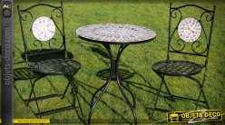 Salon de jardin métal et fer forgé 1 table 2 chaises coloris noir et mosaïque