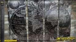 Mappemonde vintage murale en quadriptyque 160 x 120 cm