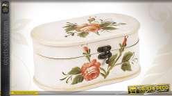 Coffret en bois de style romantique avec motifs fleuris