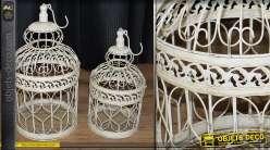 Cages à oiseaux décoratives rondes crème