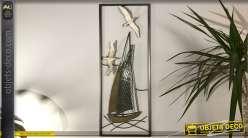 Décoration murale en métal, style bord de mer avec voiliers et mouettes, 74cm