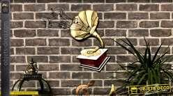 Déco murale en métal représentant un gramophone et portée de musique, finition vieux rouge et doré
