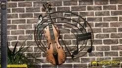 Décoration murale en métal thème musique, grand violon et sa portée circulaire, 70cm de diamètre
