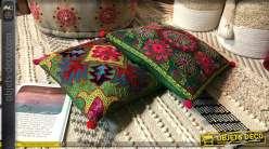 Série de deux coussins en coton brodé multicolores, avec franges et pompons, ensemble très coloré, 40x40cm
