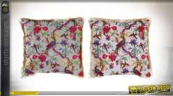 COUSSIN POLYESTER 45X45 0,45 FLORAL VELOURS 2 MOD.