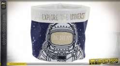 Corbeille en tissus épais avec motifs d'astronautes, ambiance lunaire et chambre d'enfant, Ø19cm