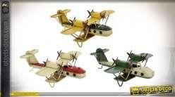 Série de 3 reproductions d'anciens avions biplans, en métal finition vintage, esprit miniature aéronotique, 16cm