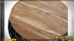 TABLE AUXILIAIRE SET 2 FER BOIS 66X66X30 VIEILLI