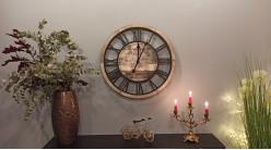 Horloge murale Café de la Tour en bois et métal, ambiance rétro et place du village, Ø60cm