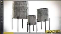 SUPPORT POT FLEURS SET 3 PVC MÉTAL 36X60 GRIS