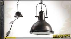 Suspension en métal et verre de style industriel Ø 33 cm