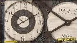 Grande horloge style rétro bois et métal Ø 80 cm