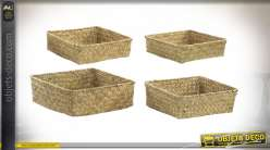 CORBEILLE SET 4 FIBRE 26X26X10 NATUREL