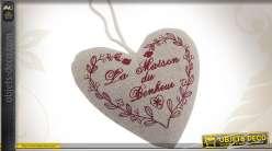 Coeur à suspendre en tissu coton et lin