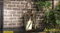 Lanterne métal style industriel finition bronze cuivré 55 cm