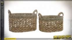 CORBEILLE SET 2 FIBRE SEAGRASS 45X35X25 NATUREL