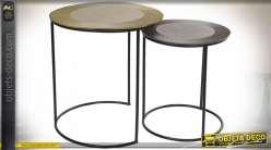 TABLE AUXILIAIRE SET 2 MÉTAL 50X50X55 RAYURES DORÉ