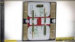 SUSHI SET 8 BAMBOU PORCELAINE 31X27X3,5 BAMBOU