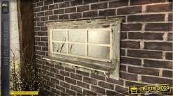 Miroir d'entrée en bois esprit fenêtre finition gris usé, avec tablette et crochets