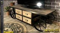 Meuble TV en bois et métal, style ancien chariot, 4 tiroirs et plateau vieilli, 122cm