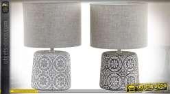 LAMPE DE TABLE CIMENT 24X24X36 ETHNIQUE 2 MOD.
