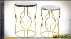 TABLE AUXILIAIRE SET 2 MARBRE MÉTAL 40X40X62
