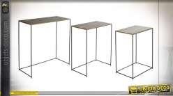 TABLE AUXILIAIRE SET 3 MÉTAL 59X29X66 VIEILLI NOIR