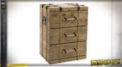 TABLE DE CHEVET BOIS 43X34X60 3 TIROIRS NATUREL