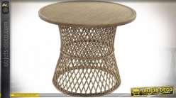 TABLE AUXILIAIRE ROTIN 60,5X60,5X48,5 NATUREL