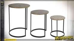 TABLE AUXILIAIRE SET 3 MÉTAL 38X38X56 ETHNIQUE