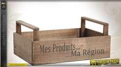 Corbeille caissette en bois teinté à l'ancienne