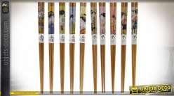 BAGUETTES JAPONAISES SET 10 BAMBOU 11X23 2 MOD.