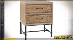 TABLE DE CHEVET BOIS CORDE 51,5X35X64 NATUREL