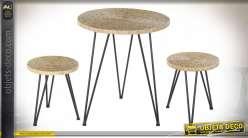 TABLE SET 3 ROTIN MÉTAL 60X60X70 NATUREL