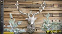 Déco murale trophée tête de cerf finition argentée