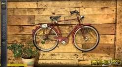 Grande décoration murale en métal en forme de vélo, finition rouge Ferrari 99cm