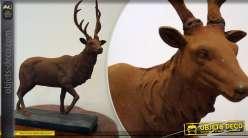Statuette décorative animalière cerf finition oxydée