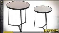 TABLE AUXILIAIRE SET 2 MÉTAL 45X45X49 45X45X48