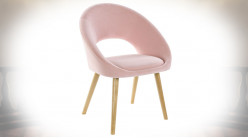 CHAISE POLYESTER BOIS 55X63X83 ROSE